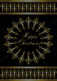 Card with greetings Happy Christmas in gold snowflake Royalty Free Stock Photo