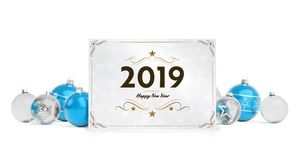 2019 card greetings laying on isolated blue white baubles 3D ren vector illustration