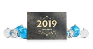 2019 card greetings laying on isolated blue white baubles 3D ren stock illustration