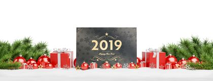 2019 card greetings laying on red baubles and gift 3D rendering stock illustration