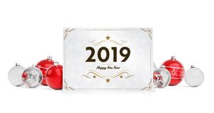2019 card greetings laying on red baubles isolated 3D rendering royalty free illustration