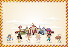 Card with a group of happy cartoon children Royalty Free Stock Image