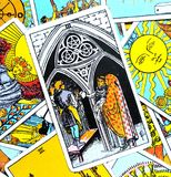 Three III of Pentacles Tarot Card Teamwork Learning. This card is about Growth, Study, Learning, Scholarships Teamwork and being an Apprentice royalty free illustration