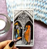 Three III of Pentacles Tarot Card Teamwork Learning. This card is about Growth, Study, Learning, Scholarships Teamwork and being an Apprentice royalty free stock photos