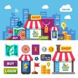 card grund shopping för dof-fokushanden online mycket royaltyfri illustrationer