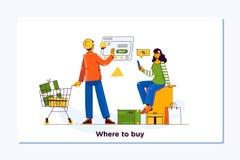 card grund shopping för dof-fokushanden online mycket E-kommers och hemsändningbegrepp Folket shoppar den online-användande smart vektor illustrationer
