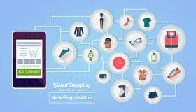 card grund shopping för dof-fokushanden online mycket i lager vektor för baner eps10 mapp Arkivbild