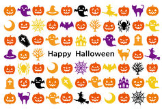 Card with Halloween icons. Stock Photos
