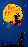Card of Halloween night: witch and black cat flyin Stock Photo