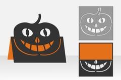 Card Halloween pumpkin for laser cutting. Silhouette design. Stock Photos