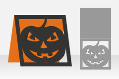Card Halloween pumpkin for laser cutting. Silhouette design. Royalty Free Stock Photography