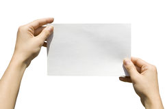 Card in hand. One white card in hands on white background Royalty Free Stock Photos