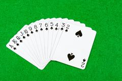 Card Hand. All the cards of suit spades Royalty Free Stock Photos