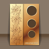 Card with hand-drawing ornaments for design. Vector invitation card with filigree hand-drawing ornaments with gold color for design Stock Image