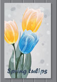 Card with hand-drawn bouquet of blue and yellow tulips. With green leaves and blades of grass flying around Royalty Free Stock Photos