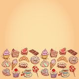 Card Hand drawn confectionery set croissant Cupcake candy marshmallow ice cream cake donut and coffee. vector Royalty Free Stock Photo