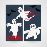 Card with hand drawn doodle ghosts. Invitation for Stock Photography