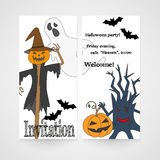Card with hand drawn doodle scum - ghost, scarecrow, pumpkin and other. Invitation for Halloween party. Royalty Free Stock Photo