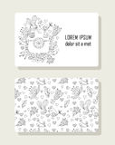 Card with hand drawn floral elements and photo Royalty Free Stock Photography