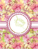 Card with hand drawn flowers - tiger lilly Royalty Free Stock Image