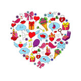 Card with hand drawn love doodles objects Royalty Free Stock Images