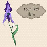 Card with a hand drawn purple iris. On background with dots Royalty Free Illustration