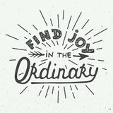 Card with hand drawn typography design element for greeting cards, posters and print. Find joy in the ordinary  on white b Stock Image