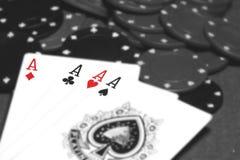 Card hand four aces B Stock Photo
