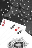 Card hand four aces A Stock Photography