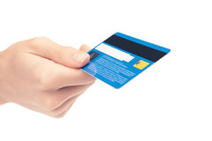 Card in a hand royalty free stock photos