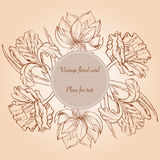Card with hand paimted sketch flowers and place for text. Stock Image