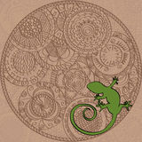 Card with hand painted round ornament and lizard, brown Royalty Free Stock Image