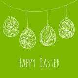 Card with hanging Easter eggs. Handdrawn decorative elements in vector. Background with hanging Easter eggs. Hand-drawn decorative elements in vector. Pattern Stock Photo