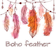 Card with hanging hand drawn feathers  with boho pattern Stock Images