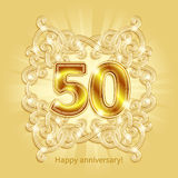 Card Happy Anniversary. Postcard 50 years anniversary of gold numbers against background of ornament in style of Art Deco Royalty Free Stock Photos