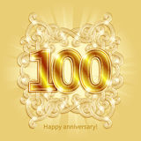 Card Happy Anniversary. Postcard 100 years anniversary of gold numbers against background of ornament in style of Art Deco Royalty Free Stock Image