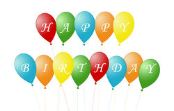 Card for Happy Birthday. With balloons Stock Images