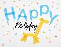 Card Happy Birthday balloons giraffe Stock Images
