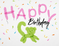 Card Happy Birthday balloons lemur. Card with confetti and animals of balloons with the inscription Happy Birthday lemur of balloons Stock Image