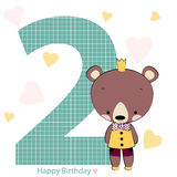 Card on happy birthday with bear boy. Vector illustration Stock Image