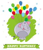 Card happy birthday. Cartoon elephant. Colorful balloons background with cute elephant vector illustration
