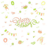 Card happy birthday doodle style. Invitation to the Birthday. Lettering happy birthday on a background of festive flags, gifts, candy, toys and hearts. Vector Stock Photography