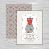 Card happy birthday with a fox royalty free illustration