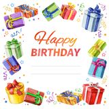 Card Happy Birthday. square frame of gifts. watercolor. Royalty Free Stock Photos