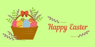 Card for Happy Easter in the Flat Stile Royalty Free Stock Photo