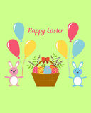 Card for Happy Easter in the Flat Stile Stock Photography