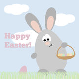 Card Happy Easter. Card with funny rabbit with basket with eggs and text Happy Easter Royalty Free Stock Photography