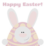 Card Happy Easter. Postcard with funny bunny and text Happy Easter Stock Photography