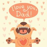 Card Happy Father's Day with a funny puppy. Royalty Free Stock Photos