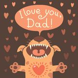 Card Happy Father's Day with a funny puppy. Stock Photography